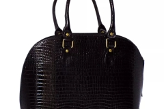 bolsa de charol croco negro